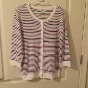 """CJ Banks size """"X"""" striped sweater purple white"""
